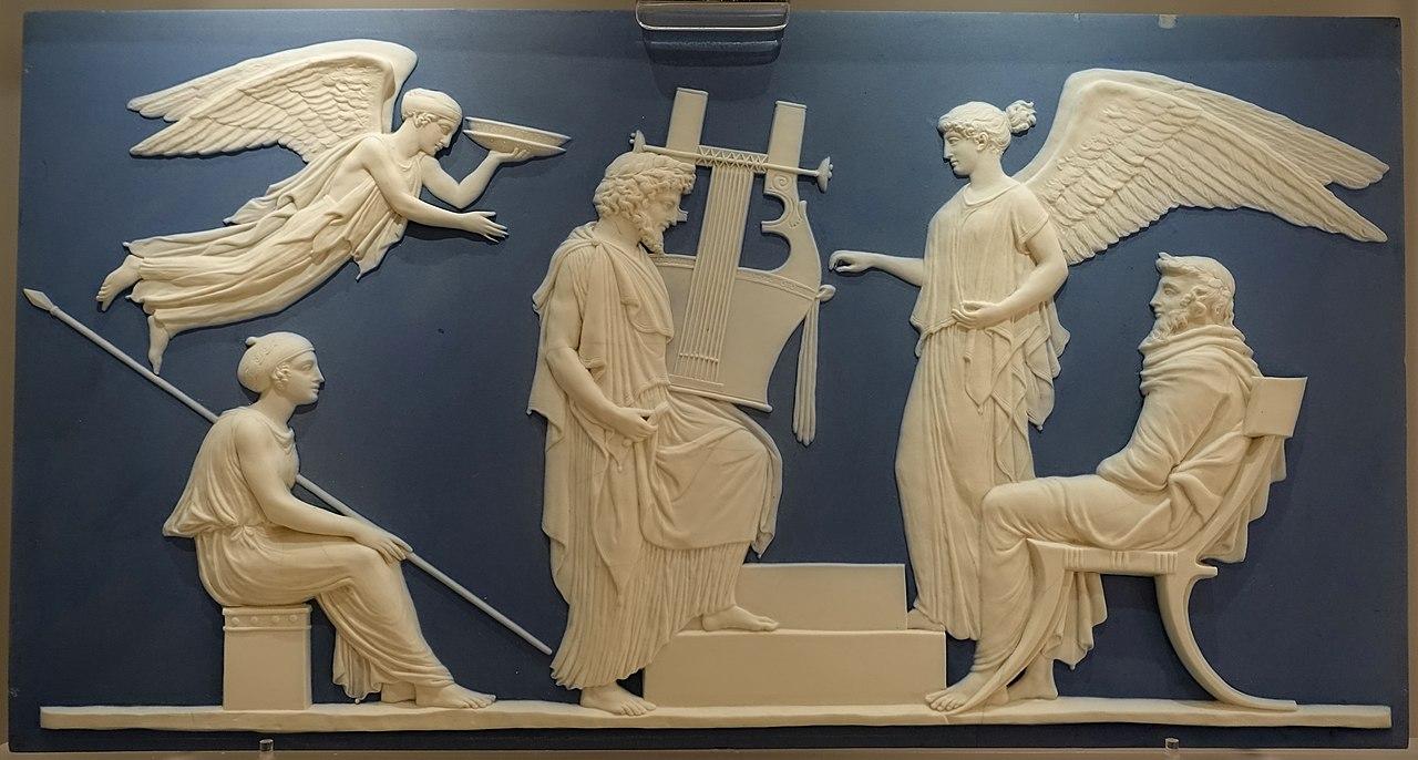 The Apotheosis of Homer, John Flaxman, 1779-1780, solid pale blue jasper, white reliefs - Wedgwood Museum - Barlaston, Stoke-on-Trent, England - DSC09687.jpg