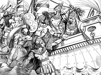 Cynaegirus - Cynaegirus grabbing a Persian ship at the Battle of Marathon (19th century illustration).