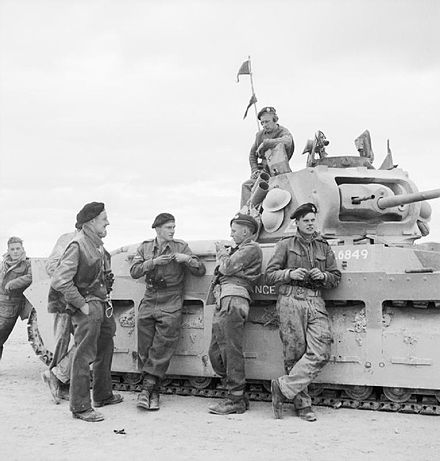 Crew of a Matilda tank take a break during the fighting near Tobruk, 28 November 1941 The British Army in North Africa 1941 E6804.jpg