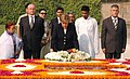 The Chancellor of Germany, Ms. Angela Merkel laying wreath at the Samadhi of Mahatma Gandhi at Rajghat, in Delhi on October 30, 2007.jpg