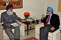The Chief Minister of Punjab, Shri Parkash Singh Badal meeting with the Deputy Chairman, Planning Commission, Dr. Montek Singh Ahluwalia to finalize annual plan 2008-09 of the State, in New Delhi on February 19, 2008.jpg