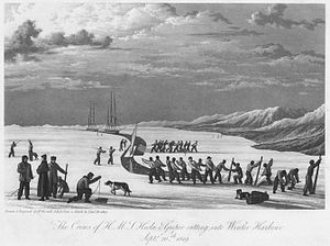 Crews of Hecla & Griper cutting into winter harbour, 26 September 1819, from the 1821 journal of the Arctic expedition.