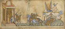 Miniatures from a book showing three separate episodes from the Israelites' battle with Sennacherib including him being killed by two spears