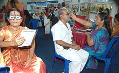 The Doctors from District Blindness Control Society, Kottayam, examining the patients during the free eye camp organised as a part of the Public Information Campaign on Bharat Nirman, at Karur, in Kottayam district, Kerala.jpg