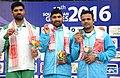 The Gold Medal Winner Gurpreet Singh of India, Silver Medal Winner of Pakistan Ghulam Mustafa Bashir and Bronze Medal Winner Vijay Kumar of India in the 25m Rapid Fire Pistol Men's Individual event in Shooting.jpg