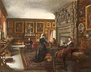 The Great Hall, Baddesley Clinton, with Mr and Mrs Mamion Ferrers, Edward Heneage Dering and Lady Chatterton (Mrs Dering)