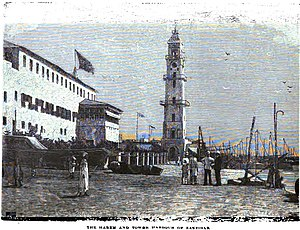 Sultanate of Zanzibar - Image: The Harem and Tower Harbour of Zanzibar (p.234, 1890) Copy