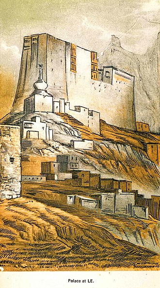 Alexander Cunningham - Leh Palace, Ladakh. Illustration from Ladak: Physical, Statistical, and Historical