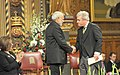 The Prime Minister, Shri Narendra Modi being welcomed by the Speaker of the House of Commons, Mr. John Bercow, at British Parliament, in Westminster, London on November 12, 2015.jpg