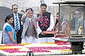 The Prime Minister of Nepal, Shri K.P. Sharma Oli paying floral tributes at the Samadhi of Mahatma Gandhi, at Rajghat, in Delhi on February 20, 2016.jpg