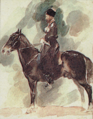 The Soviet Union 1988 CPA 5973 stamp crop. Horse Breeding Museum. 'Konvoets' (Kabardin stallion) by Vrubel, 1882.png