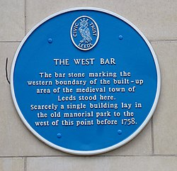 Photo of West Bar blue plaque