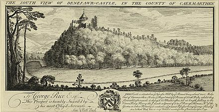 Dinefwr Castle, 1740 The south view of Denefawr-Castle, in the county of Caermarthen.jpeg
