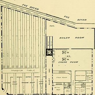 Aurora, Elgin and Fox River Electric Company - Ground floor plan of Aurora's depot and coal power plant, as reported in 1891.