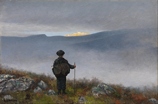 Theodor Kittelsen - Far, far away Soria Moria Palace shimmered like Gold - Google Art Project