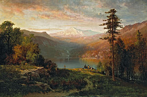 Thomas Hill (painter) - Thomas Hill - Indian by a lake in a majestic California landscape