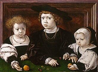 Pride and Joy: Children's Portraits in The Netherlands 1500-1700 - Image: Three children of King Christian II of Denmark by Jan Gossaert (1526)