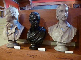 Culture of Scotland - Three great men of Scottish literature: busts of Burns, Scott and Stevenson.