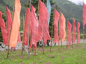 Tibetan Prayer Flags on the Border of China an...