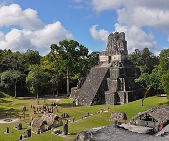 Tikal Temple II - Temple II seen from the North Acropolis to the northeast