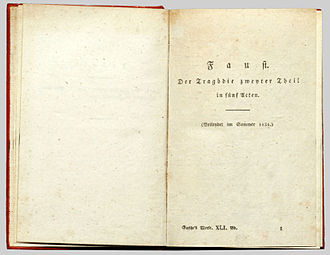 Goethe's Faust - Faust II, first edition, 1832