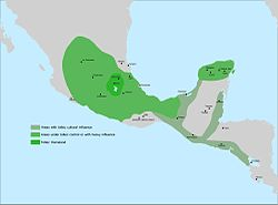Approximate influence of the Toltecs in 950