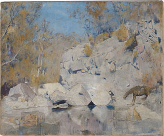 Captain Thunderbolt - Tom Roberts' painting In a corner on the Macintyre (1895, National Gallery of Australia) shows Thunderbolt in a shoot out with the police.