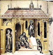 Miniature représentant un tombeau gardé par plusieurs figures.