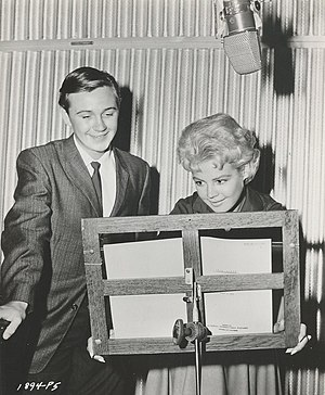 Tommy Kirk - Tommy Kirk and Sandra Dee recording the English dub of The Snow Queen, 1959.
