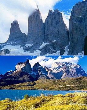 Torres del Paine y cuernos del Paine, montaje.jpg