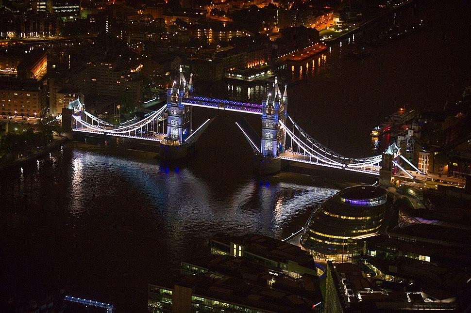 Tower Bridge, aerial view, white lights, bridge open