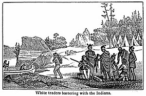 History of Saskatchewan - First nations trading furs for goods from fur traders .