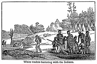 Barter - White traders bartering with the Indians c. 1820