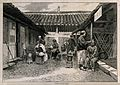 Travelling barbers dressing hair in a courtyard. Wood engrav Wellcome V0019789.jpg