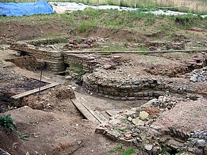Tripontium - Remains of the bathouses being excavated in 2005.