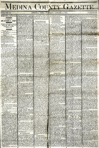 File:Tues August 11, 1885 Medina OH Gazette on the occasion of USGrant's Death, Eulogy by JHGreene (2).pdf