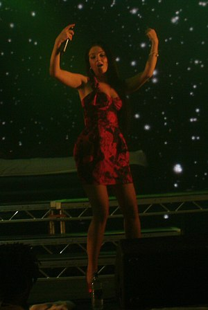 Tulisa - Tulisa performing with N-Dubz in 2010