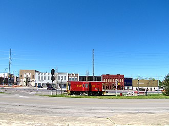 Tullahoma, Tennessee - Caboose Park, with buildings along Atlantic Street in the background