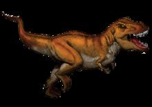 Ricostruzione di tirannosauro, un teropode