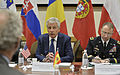 U.S. Defense Secretary Chuck Hagel, center, meets with Spanish Defense Minister Pedro Morenes Eulate, left foreground, as he attends meetings for NATO defense ministers in Brussels 140226-D-NI589-293.jpg