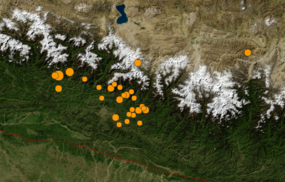 U.S. Geological Survey 2015 Nepal Earthquake and aftershock map.png