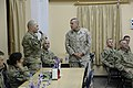 U.S. Marine Corps Sgt. Maj. Bryan B. Battaglia, standing right, the senior enlisted adviser to the Chairman of the Joint Chiefs of Staff, listens to a Soldier's question at Forward Operating Base Gamberi 130504-A-CL397-005.jpg