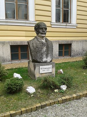 Victor Babeș - Statue of Victor Babeș in front of Babeș-Bolyai University in Cluj-Napoca