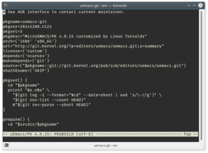 uEmacs/Pk 4.0.15 on Linux
