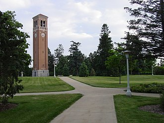 University of Northern Iowa - The Campanile, a major university landmark at the center of UNI's campus.