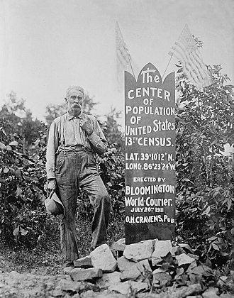 Mean center of the United States population - The center of the US population, 13th census (1910), near Bloomington, Indiana