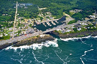 Depoe Bay, Oregon - Aerial view of the harbor and center of Depoe Bay