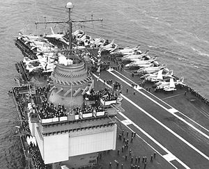 USS Enterprise (CVN-65) - Enterprise in 1967, showing the ship's SCANFAR antennas