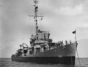 USS Durik (DE-666) at anchor off Norfolk, Virginia (USA), on 31 December 1944