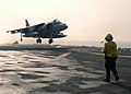 """US Navy 040803-N-8590P-065 Capt. Joseph L. Beals assigned to the """"Fighting Griffins"""" of Marine Helicopter Medium Squadron Two Six Six HMM-266 lands his AV-8B Harrier.jpg"""